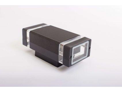 Dvojité nástenné svietidlo HANA hranaté 2xGU10 IP54 čierne 1250