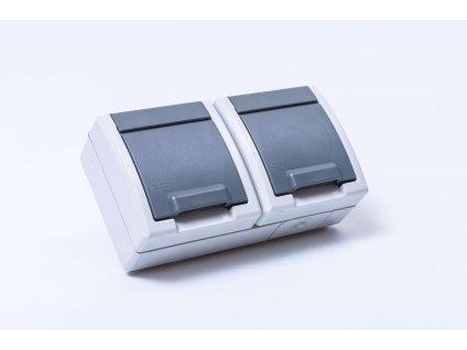 2-zásuvka AQUANT na povrch sivá IP55 1242-10 Elektroplast