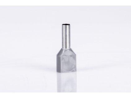 Sivá dvojitá izolovaná lisovacia dutinka L=12mm 2x4mm E19I