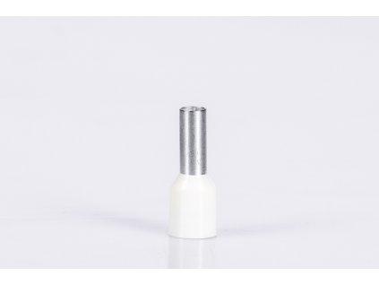 Biela izolovaná lisovacia dutinka L=16,4mm 1x0,75mm E060