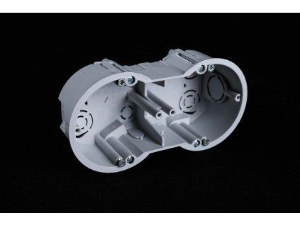 KUP 68 LP/2 SK sivá dvojitá krabička na vypínače a zásuvky do sadrokartónových alebo dutých stien