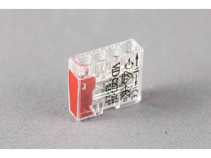 Červená wago krabicová svorka na káble jednorázová 4x