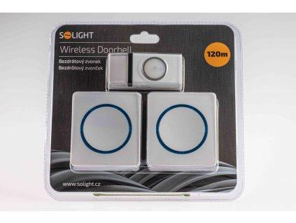 Bezdrôtový zvonček modrý s 2 prijímačmi dosah 120m 1L23