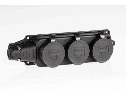 Samostatná 3-zásuvka IP44 čierna SZG-3