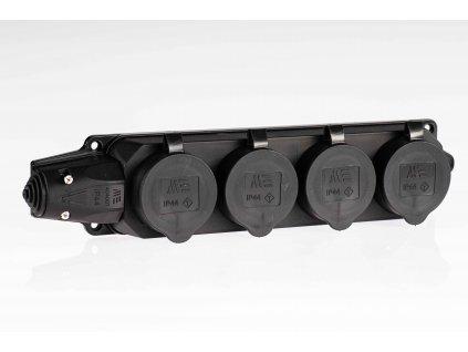 Samostatná 4-zásuvka IP44 čierna M404008