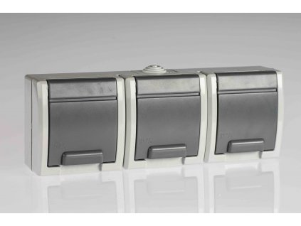 3-zásuvka AQUANT na povrch sivá IP55 1243-10 Elektroplast