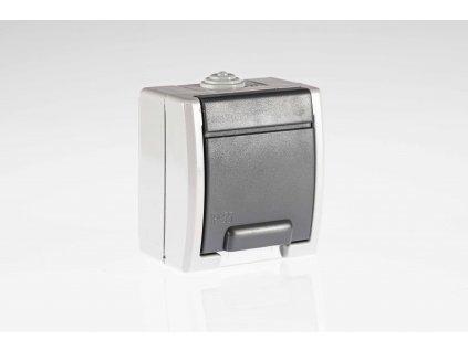1-zásuvka AQUANT na povrch sivá IP55 1241-10 Elektroplast