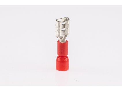 Červená plochá izolovaná lisovacia dutinka L=22,2mm 1,5mm PCSH6