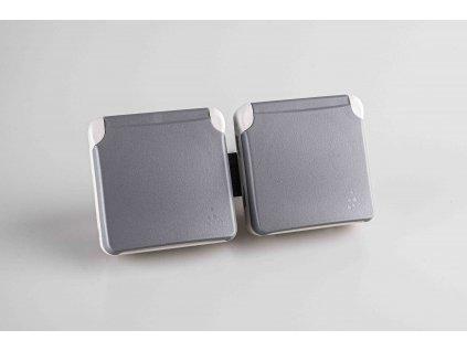 2-zásuvka PLEXO na povrch sivá 16A/250V IP55 069562 Legrand (vnútro)