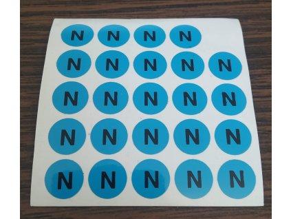 """Samolepka """"N"""" modrá nulový vodič"""