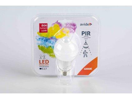 LED žiarovka E27 10W 4000K so senzorom pohybu
