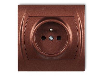 1-zásuvka LOGO metalická hnedá 9LGP-1Z 606