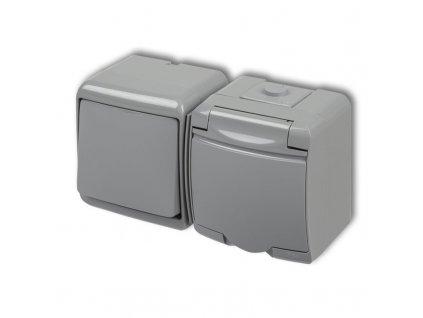 1-zásuvka + vypínač č.1 na povrch JUNIOR sivá 10WGHH-1 4886