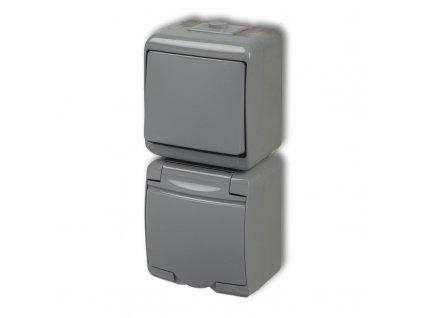 1-zásuvka + vypínač č.1 zvislá na povrch JUNIOR sivá 10WGHP-1 4889