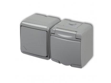 1-zásuvka + vypínač č.6 vodorovná na povrch JUNIOR sivá 10WGHH-3 4887
