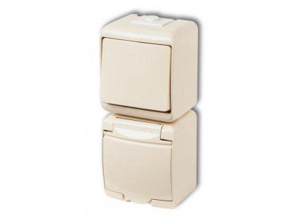 1-zásuvka + vypínač č.1 zvislá na povrch JUNIOR béžová 1WGHP-1 5346