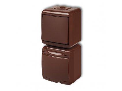 1-zásuvka + vypínač č.1 zvislá na povrch JUNIOR hnedá 4WGHP-1 485