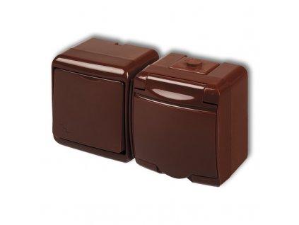 1-zásuvka + vypínač č.6 vodorovná na povrch JUNIOR hnedá 4WGHH-3 483
