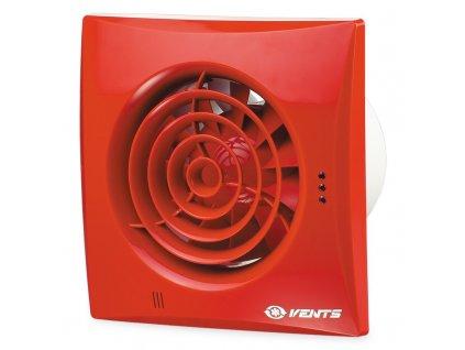 Červený tichý ventilátor domový 97m3/h 100QUIETRED guličkové ložisko