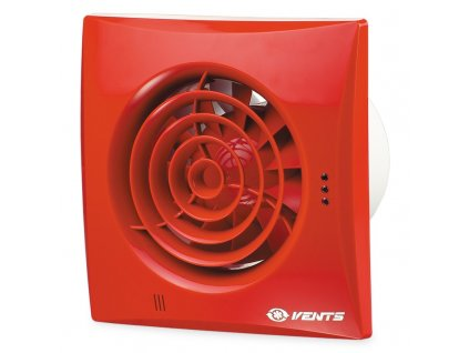 Červený tichý ventilátor domový 97m3/h 100QUIETTRED časový spínač guličkové ložisko