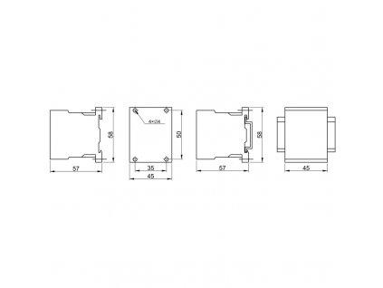 Miniatúrny stykač 660V, 50Hz, 12A, 5,5kW, 230V AC, 3×NO+1×NO