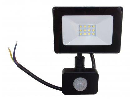 Reflektor SMD LED 10W so senzorom PIR - čierny 4500K 0549