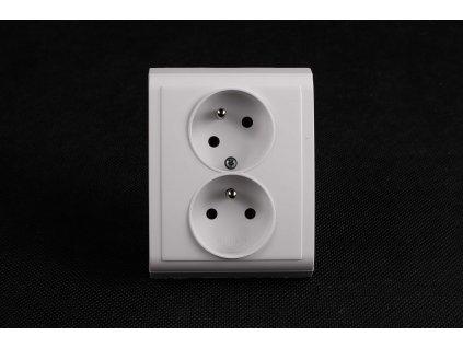 2-zásuvka vyosená Praktik biela 4FN15088.901 Tesla