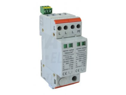 AC zvodič prepätia, typ 2, 2-modulový, vyber.mod. 230/400 V, 50 Hz, 15/30 kA (8/20 us), 3P+N/PE TRTTV2-30-3P-N-PE Tracon