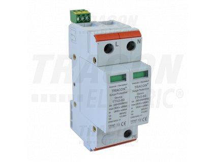 AC zvodič prepätia, typ 2, vyberateľné moduly 230/400 V, 50 Hz, 30/60 kA (8/20 us), 2P