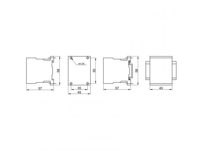 Miniatúrny stykač 660V, 50Hz, 9A, 4kW, 230V AC, 3×NO+1×NC