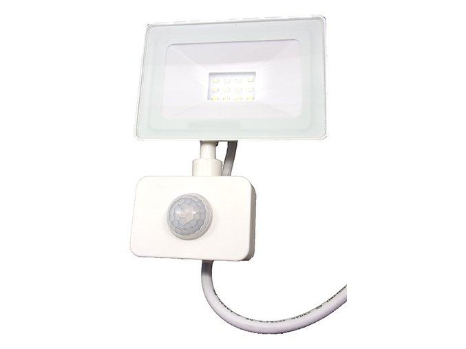 Reflektor SMD LED 10W so senzorom PIR - biely 4500K