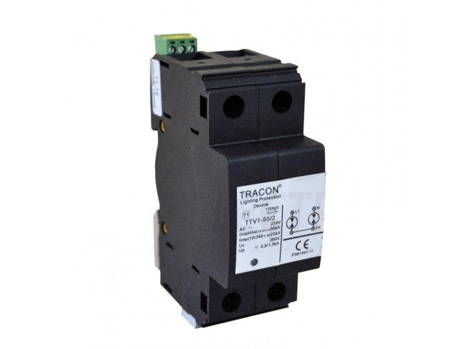 AC zvodič bleskového prúdu, typ 1, nevyberateľ. mod. 230/400 V, 50 Hz, 25/50 kA, 10/350 us, 2P