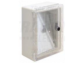 Plastová rozvodná skriňa, s priehľ. dvierkami 1x8, V×H=280×210×130mm, IP65