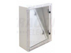 Rozvodná skriňa plastová, s priehľad. dvier. H×W×D=400×300×195mm, IP65, IK08, 1000V AC/DC, RAL7035