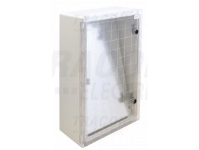 Rozvodná skriňa plastová, s priehľad. dvier. H×W×D=600×400×200mm, IP65, IK08, 1000V AC/DC, RAL7035