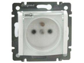 Zásuvka VALENA jednoduchá IP44, biela s priehľadným krytom