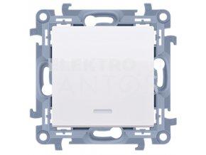 Vypínač Simon10 jednopólový č.1s kontrolkou-biely lesklý