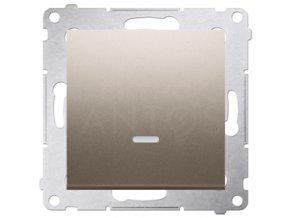 Vypínač Simon54 PREMIUM/NATURE jednopólový č.1 s kontrolkou-zlatý matný