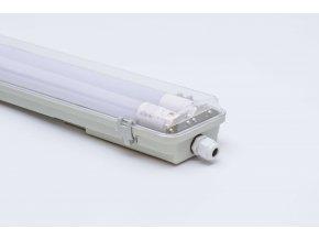 Prachotesné LED svietidlo 120cm 2x36W IP65 s trubicami 6500K, priehľadné, jednostranné napájanie