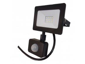 Reflektor SMD LED 10W so senzorom PIR - čierny 4500K 0549 LVT