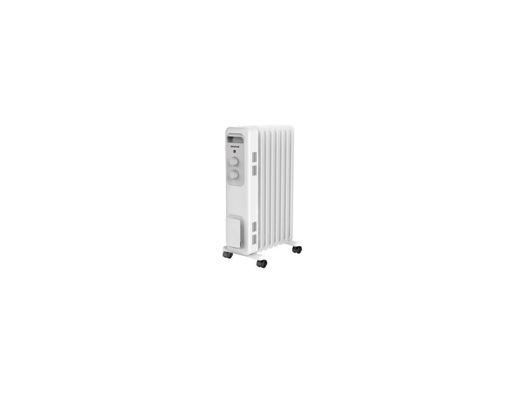 Elektrický olejový radiátor Sencor SOH 3207WH 7 žeber 1500 W pojezdová kolečka