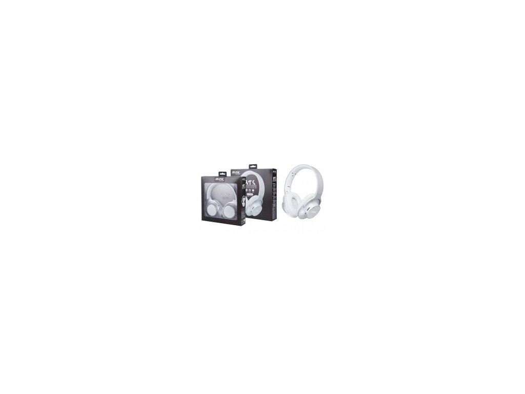 Bezdrátová bluetooth sluchátka PLUS CT863 stříbrná přes hlavu