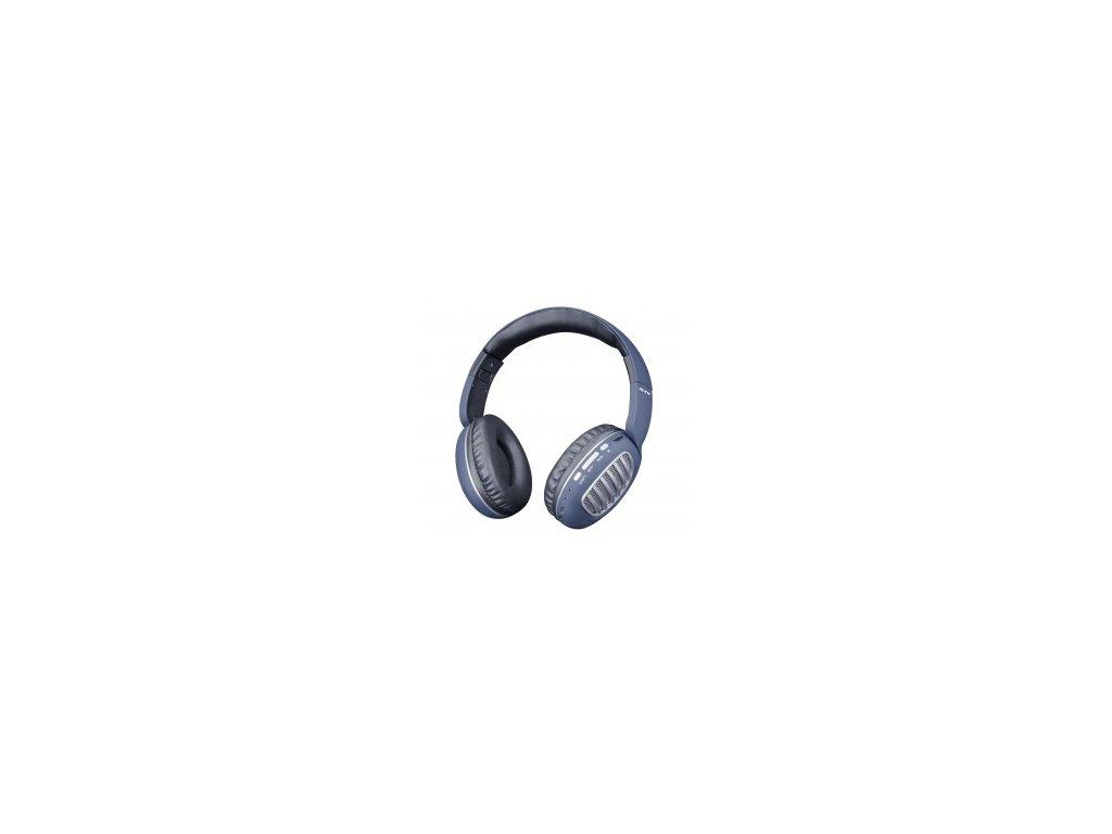 Bezdrátová bluetooth sluchátka PLUS CT978 s FM, microSD modrá