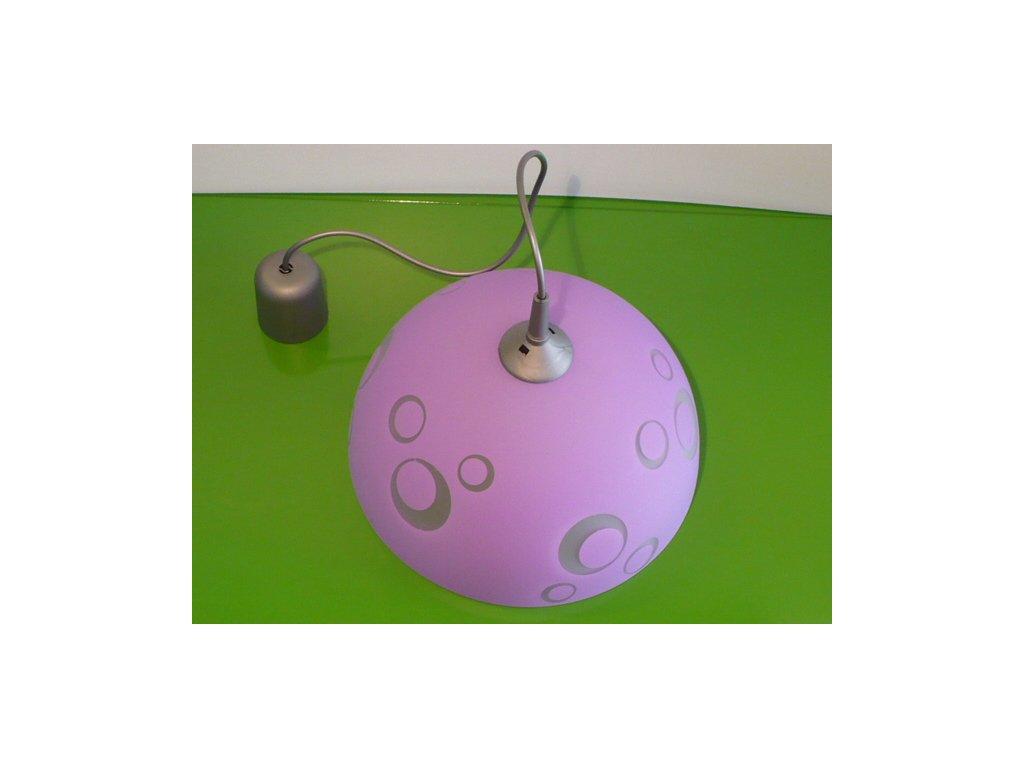 Lustr skleněný fialový s kolečky