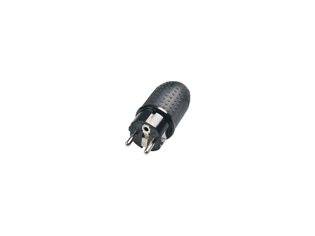 Vidlice, zástrčka gumová 230V IP44 do vlhka přímá mrazuvzdorná