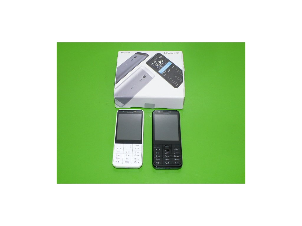 Tlačítkový mobil Nokia 230 Dual Sim WHITE SILVER 2x fotoaparát kovový zadní kryt