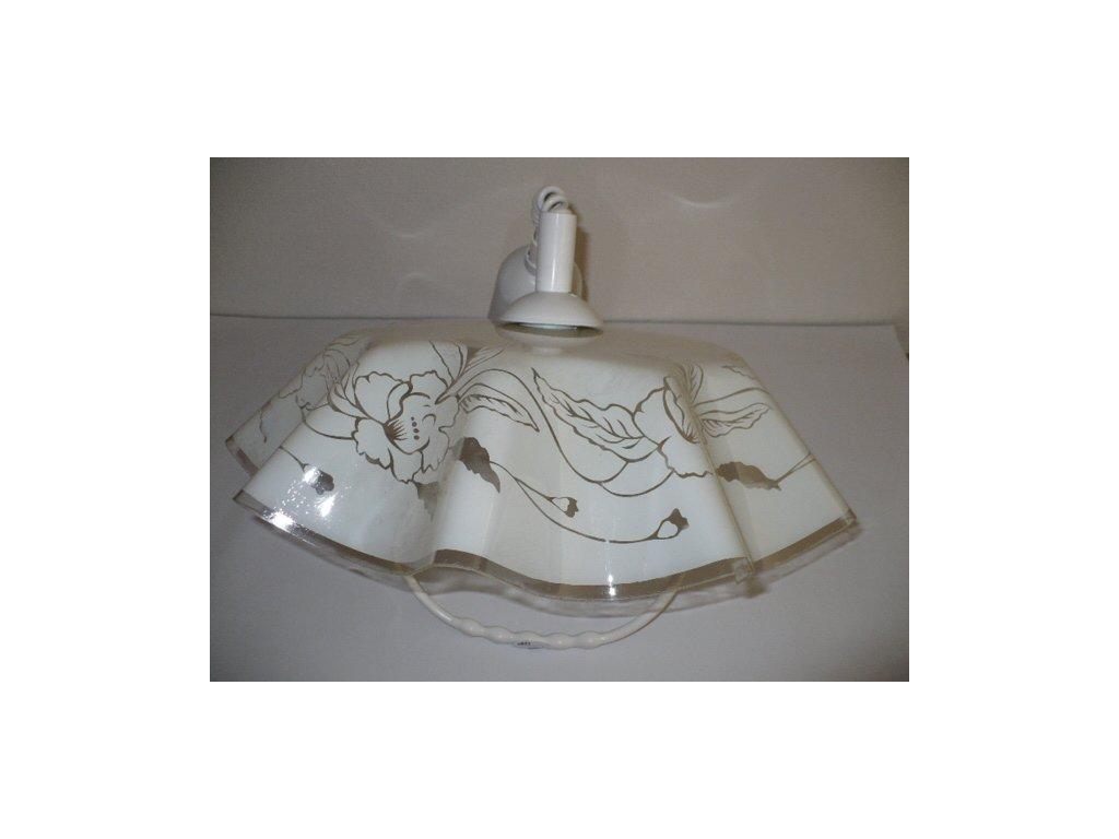 Lustr kuchyňský stahovací s madlem, plast, bílošedý motiv růže