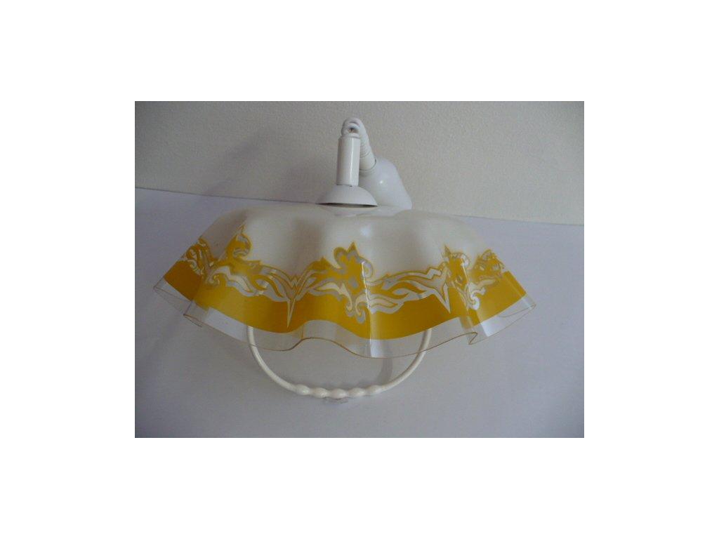 Lustr kuchyňský stahovací s madlem, plast, bíložlutý