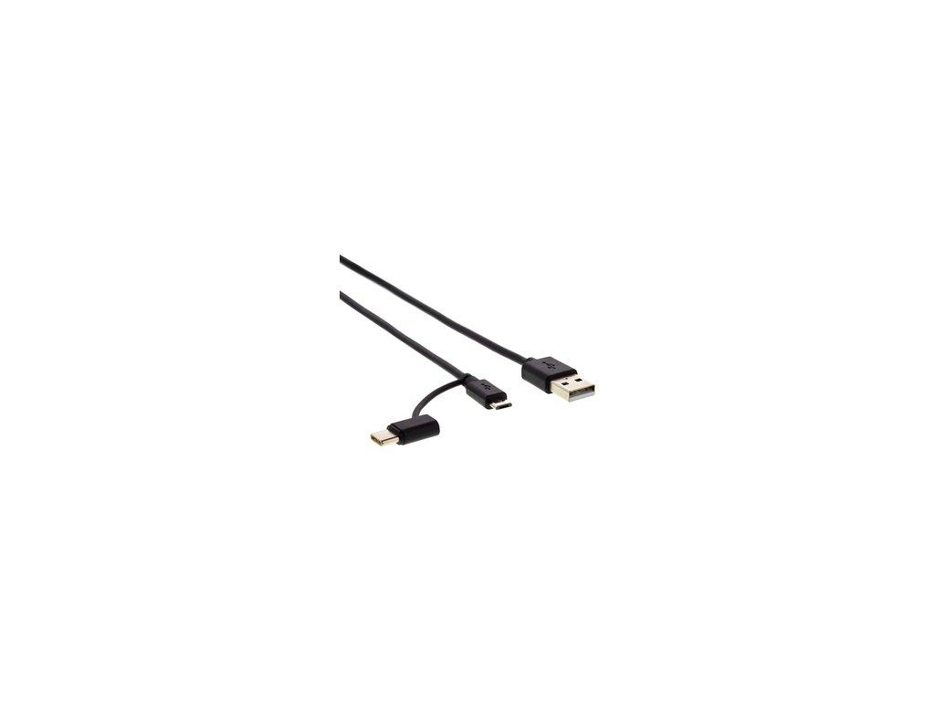 Kabel USB pro nabíjení a přenos dat Sencor SCO 522-015BK mikro USB s redukcí C