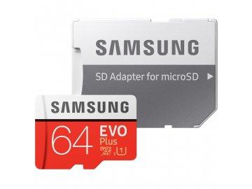 Paměťová karta Samsung Micro SDXC EVO+ 64GB Class 10 UHS-I (R100/W20) + SD adaptér